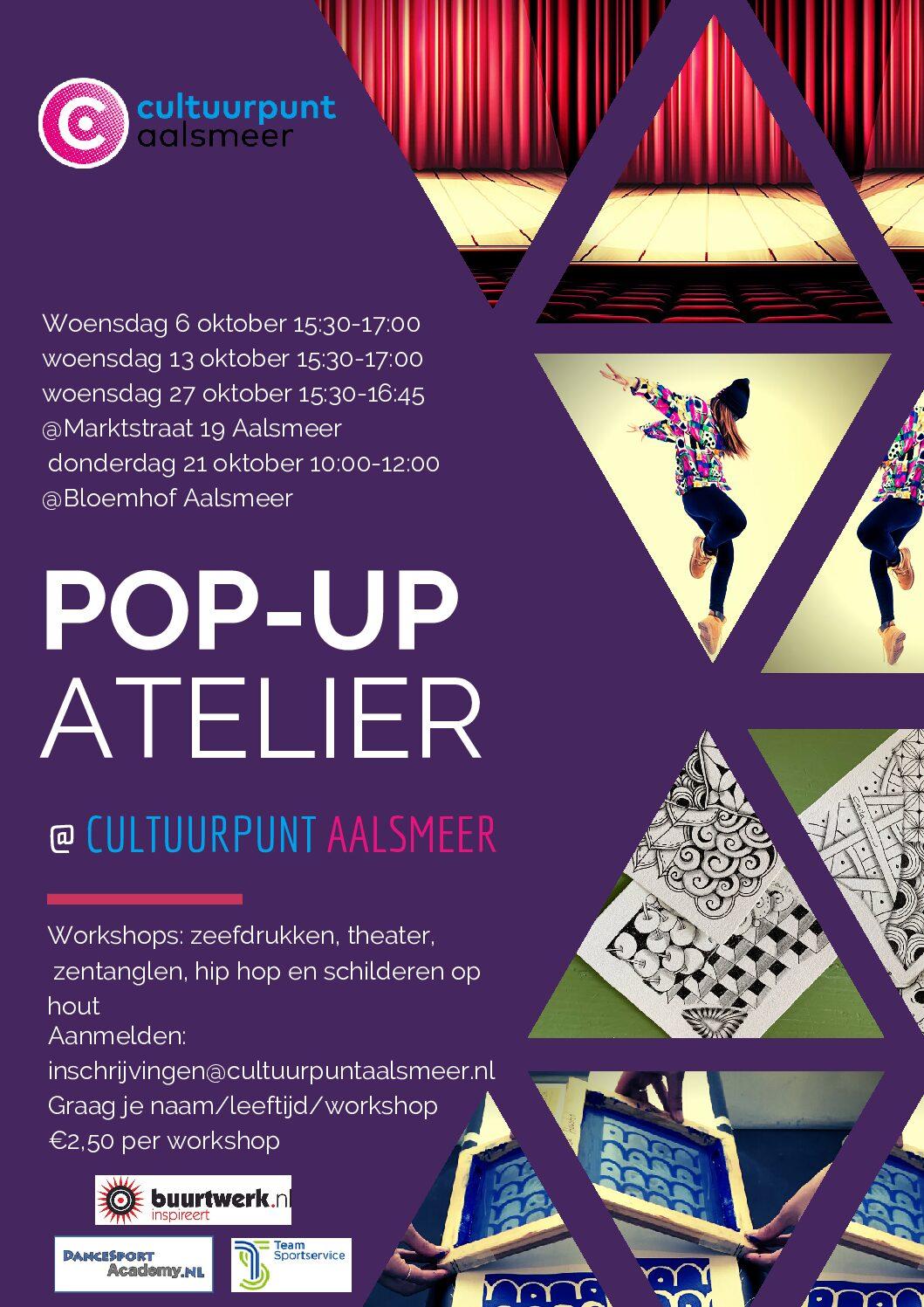 pop up atelier flyer met plaatje zentangle